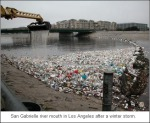 LA River with plastic garbage