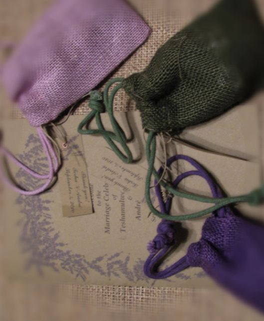 Jute bags and invitation